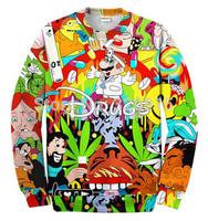 2014 New high quality fashion Women/Men Cartoon doctor Mario Print 3D Sweatshirts Hoodies Galaxy sweaters Tops Free shipping