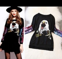 Best Grade New Fashion Women Sweatshirts Animal Birds print Shine Sequin Sleeve Black Sweater Casual Sportwear Ladies Outerwear