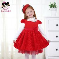 Shy Princess kids children girls winter dress 2014 new princess dress woolen flannel short sleeved dress