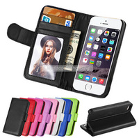 """I6 Wallet Style Stand PU Leather Phone Cases For iPhone 6 6G 4.7""""  Flip Phone Bag With 2 Card Slot Photo Frame for iPhone6 Cover"""