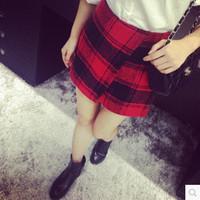 Saias Femininas New Arrival Freeshipping None Saia Curta Autumn Ladies ' Hypotenuse 2014 New Plaid Wool Packs Hip Skirt Skirts