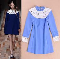 Best Grade New Fashion Runway Women Leather Patchwork Collar Long Sleeve Autumn Witner Dress Blue Black Color One-Piece Dress