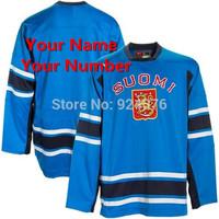 SUOMI 2010 Winter Finland Light Blue Tackle Twill Replica Hockey Jerseys - Custom Your Name & Number XXS-6XL