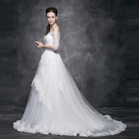 2014 New Mermaid Strapless Zipper Embroidery Floor-Length Royal Train Off the Shoulder Half Lace Wedding Dresses Free Shipping