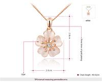 ROXI  Wholesale fashion Rose Gold Plated Austrian Crystal Flower cat eye opal Pendant Necklace fashion jewelry 2014110403