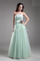 Sexy Sheath Vestidos De Fieata Strapless Sleeveless Floor Length Light Green Tulle Sash Flower Long Formal Bridesmaid Prom Dress