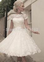 Sheer Lace Sleeve Backless Short Vestidos De Noiva Wedding Bridal Dresses Gowns A line Cap Sleeve V back Tea Length Bridal Gown