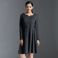 Fashion high quality women's autumn one-piece dress long-sleeve fashion woolen 2014 plus size medium skirt