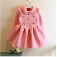 Retail 2014114 autumn and winter high-quality children's dresses for girls dress princes, Hand-beaded princess tutu dress