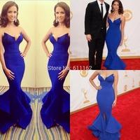 Rocsi Diaz Emmy Awards Vestidos De Fieata Blue Mermaid celebrity Evening Dresses Long Split michael costello Engagement gowns