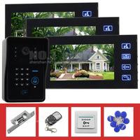 Strike Lock 7 Inch Monitor Video Door Phone Intercom System Remote Control Password RFID Weatherproof Camera 3 Monitor 1 Camera