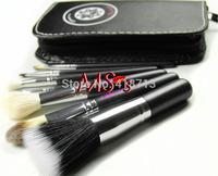 Free Shipping!! 7pcs Fiber make up tools kit Cosmetic Beauty Makeup Brush Sets with Black Case Bag Gift