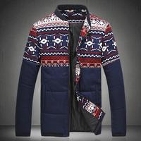 2 Colors !  Free Shipping 2014 New Arrival Fashion Print Plus Size 5XL Winter Outerwear Coat Men