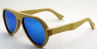 2014 Free shipping men retro sunglasses  women brand designer  bamboo nature frame ice blue lens 6068bnb