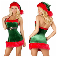 Green New Christmas Cosplay Containing Foot Sleeve Nightclub Stage Performance Clothing Sexy Polyester Bar DS Costume Sets