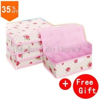 Cute Rose storage box organizer for bra,underwear,socks,ties,3PCS=1SET Rose decoration with covered Non-woven storage boxes+Gift