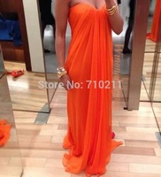 ED282 Long Chiffon Evening Dress 2014 A-line Strapless Orange Evening Gowns Ruffles Sweetheart Neck
