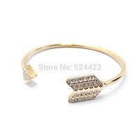 Min 1pc Gold Plated Crystal Rhinestone Arrow Shape Bangle Adjustable Crystal Arrow Bangle SZ008
