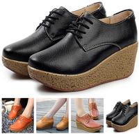2014 Autumn designer shoes fashion female round head single wedge shoe leather large base platform for women's shoes X326