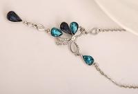 2014 new Korean fashion retro sweet romantic aristocratic temperament bow necklace drops  X8147