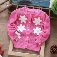 2014 new baby girl sweater cardigans children spring autumn crochet sweater coat bebe flower cotton outerwear sweater 1-4T 527A