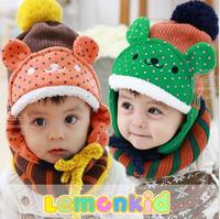 2014 New lemonkid winter Plus velvet warm Children Cap + Bib Scarf 2 piece Thickened 3D Dot Bear Knitted Kids Bomber hats 23097#