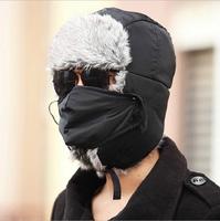 Faux Fur Winter Warm Snow Ski Russia Unisex Women Men Aviator Hat Bomber Trooper Trapper Earflap Cap with Mask, 3 Colors