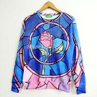 2014 New high quality fashion Women/Men Retro fresh pink roses Print 3D Sweatshirts Hoodies Galaxy sweaters Tops Free shipping