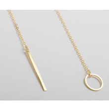 Hot sale 2015 Fashion jewelry Metallic long and circle long chain Pendant 18K Gold plated Trendy