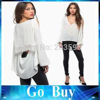 Free shipping YF0724 Women V-neck Long Sleeve Strapless Lace Decoration Dovetail Chiffon White & Black Blouse Shirt