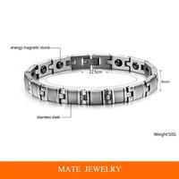 316L stainless steel bracelet, magnetic energy with health care stone for men bracelet (MATE B181)