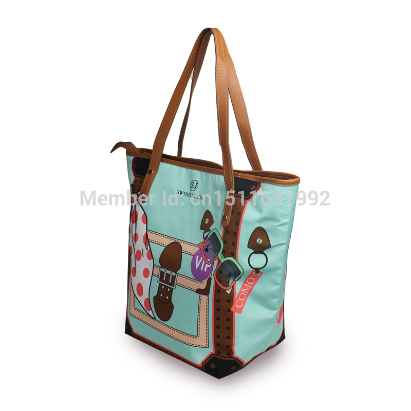 2014 NEW FASHION WOMEN TOTE BAGS HUGE VOL MICRO FABRIC MATERIALS ALL COLOR PRINTED BOLSO(China (Mainland))