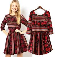 Women Autumn summer spring printed dresses peplum darker colorful New Ethnic Floral Back V Neck Seven Sleeve Fit Dress vestido
