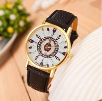 New Fashion Leather Strap Feather Watches Women Dress Watches Quartz Wristwatch Geneva Watches AW-SB-1164