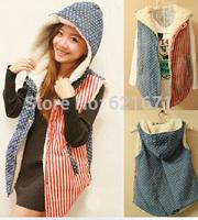 2014 Autumn/Winter New Women Casual Fashion Striped Print Warm Fleece Hoodie Coat Vest Waistcoat Plus Size L/XL/2XL/3XL/4XL/5XL