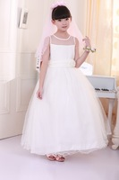 Wholesale 2014 New Children white wedding dress girls princess dress kids lace dress dress clothing  7pcs/lot free shipping