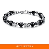 Fashion Black Beads Titanium Steel Chain Bangle Charm Men's Bracelet(MATE B257)