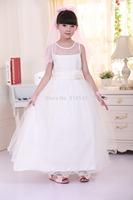 Promotion Retail 2014New Children white wedding dress girls pretty princess dress long lace dress dress free shipping