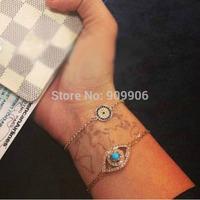 10PCS/Lot Mixed Celebrity Fashion Women's Jewelry HAMSA Evil Eye Turkish Hamsa Kabbalah Crystal Charm Gold Plated Chain Bracelet