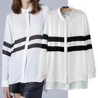 New 2015 Fashion Long Women Shirt Elegant Long Sleeve Striped Blouses Women Brand Designer Tops