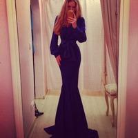 2014 Hot Selling Long Sleeve Elegant Mermaid Court Train Evening Prom Dress