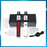 Gift box Sole Double electronic cigarette liquid smoking Kits Flat Shaped Transparent Atomizer Clearomizer 350mAh Battery