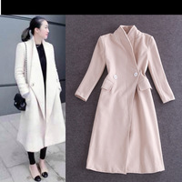 Original quality women trench coat 2014 lapel winter woolen coat female X-long slim women's wool coats and jackets beige/black