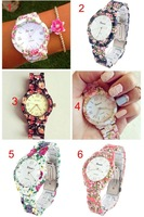 Geneva Plastic Band Platinum Flower Floral Rubberized Coated Dress Casual Women Men Analog Quartz Wrist Watches Hot Sell 2014