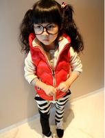 5pcs/Lot ,Winter & Autumn Cute baby girls vest kids waistcoat fashion children cotton coat 2 candy colors GW-424