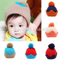 WholesaleChildren Baby Girls Boys Knit Woolen Ball Crown Hats Beanie Caps Winter HatsFreeShipping