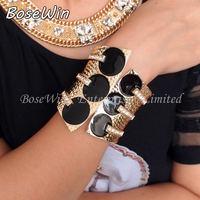 2014 Fashion Corset  Design Gold Plated Metal Black Glaze Rhienstones Spring Opened Women Cuff Bangles Bracelets BL264