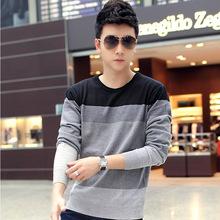 2014 o-neck long-sleeve male T-shirt 100% autumn cotton casual slim basic shirt men's clothing clothes(China (Mainland))