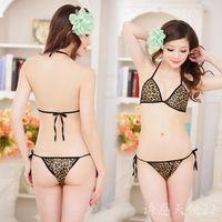 free shipping 100pcs/lot , Women's no open-crotch lacing lingerie bikini temptation of uniforms set