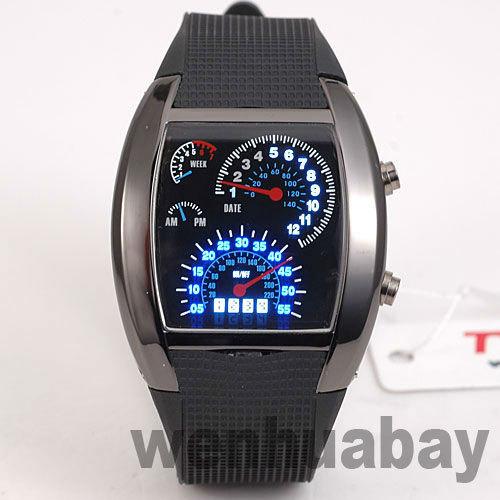 TVG Black /White Binary Blue&White LED Aviation Speedometer Dot Matrix Mens Watch(China (Mainland))